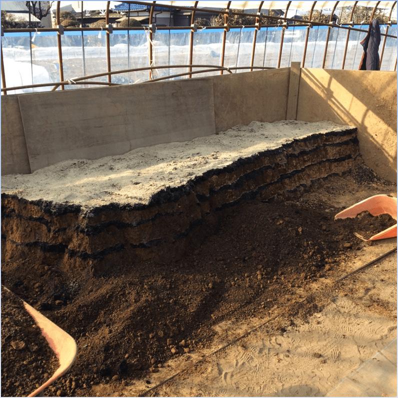 培土にコフナを混和し堆積